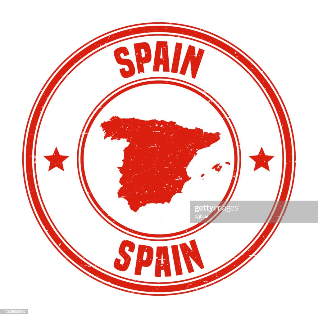Spain Red Grunge Rubber Stamp With Name And Map Vector Art