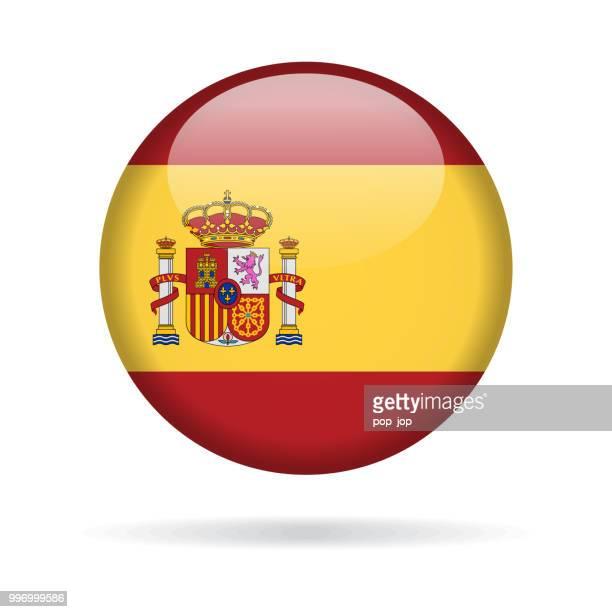 ilustrações, clipart, desenhos animados e ícones de espanha - redonda no ícone vector bandeira brilhante - espanha