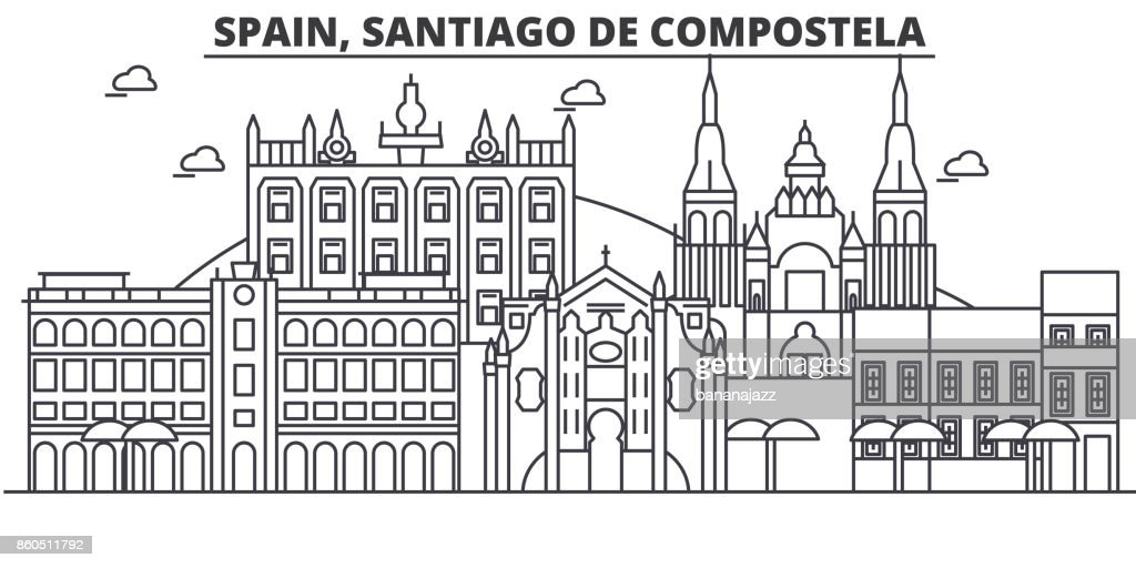 Spain, Santiago De Compostela architecture line skyline illustration. Linear vector cityscape with famous landmarks, city sights, design icons. Landscape wtih editable strokes