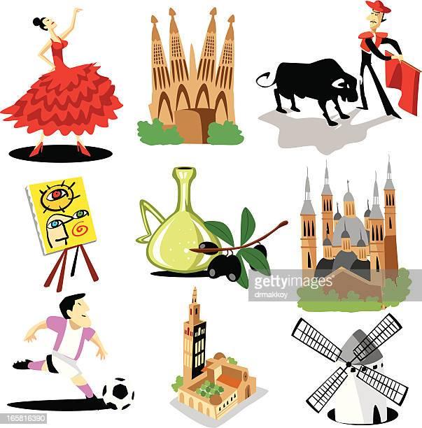 ilustraciones, imágenes clip art, dibujos animados e iconos de stock de españa símbolos - toreo