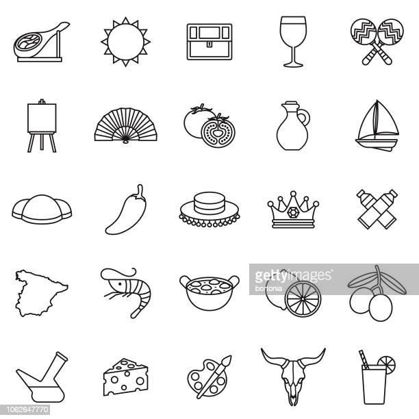 ilustrações, clipart, desenhos animados e ícones de conjunto de ícones de contorno de linha fina de espanha - camarões
