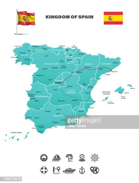 spain travel map - en búsqueda stock illustrations
