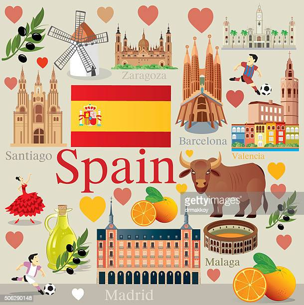 spain travel - comunidad autonoma de valencia stock illustrations