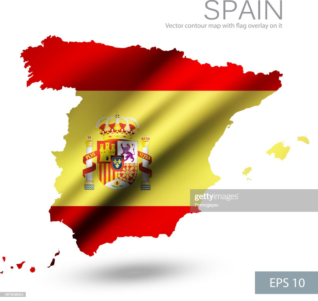 Spain vector contour map with Spain flag and emblem