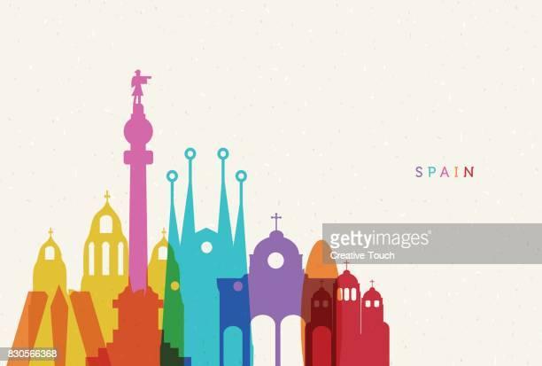 ilustraciones, imágenes clip art, dibujos animados e iconos de stock de españa  - destinos turísticos