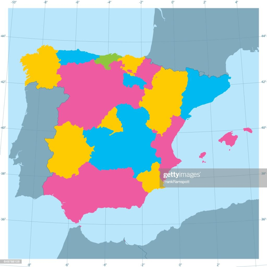 Spain Vector Map Colorful Administrative Divisions : stock illustration