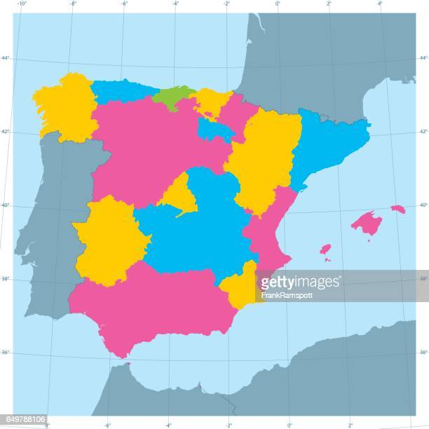 spain vector map colorful administrative divisions - iberian peninsula stock illustrations, clip art, cartoons, & icons