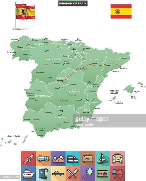 spain vector map - málaga province stock illustrations, clip art, cartoons, & icons