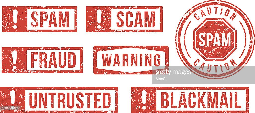 Spam, Scam, Fraud - rubber stamps : stock illustration