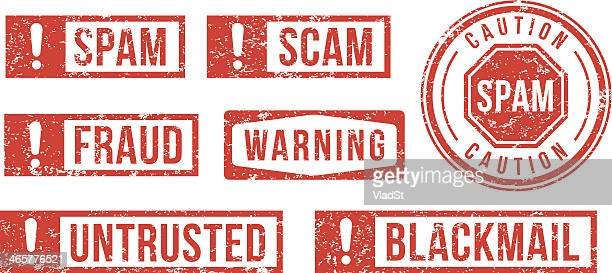 spam, scam, fraud - rubber stamps - white collar crime stock illustrations