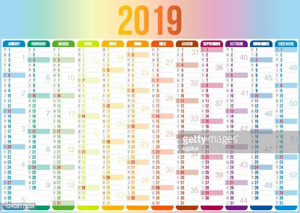 spanish calendar 2019 - today single word stock illustrations