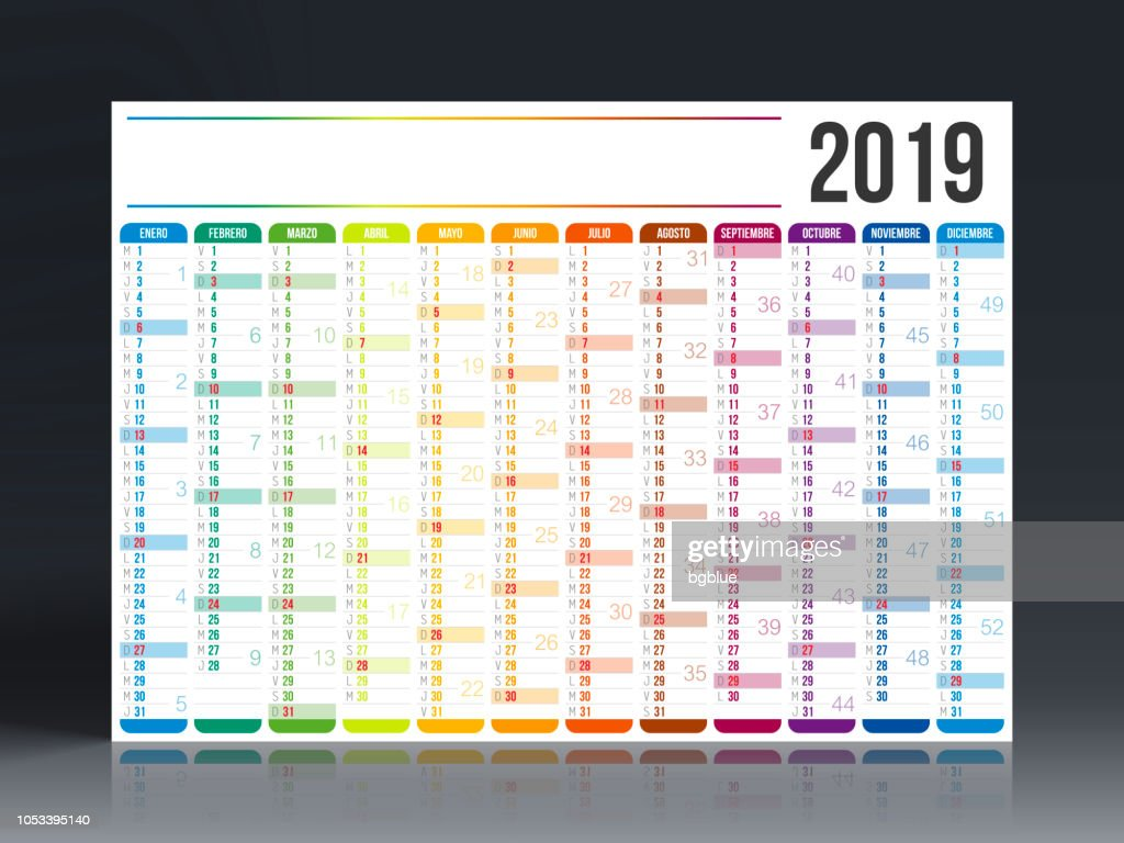 Calendario Julio 2019 Vector.Spanish Calendar 2019 High Res Vector Graphic Getty Images