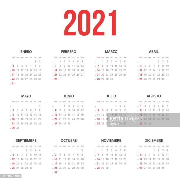 スペイン暦2021 - スペイン点のイラスト素材/クリップアート素材/マンガ素材/アイコン素材