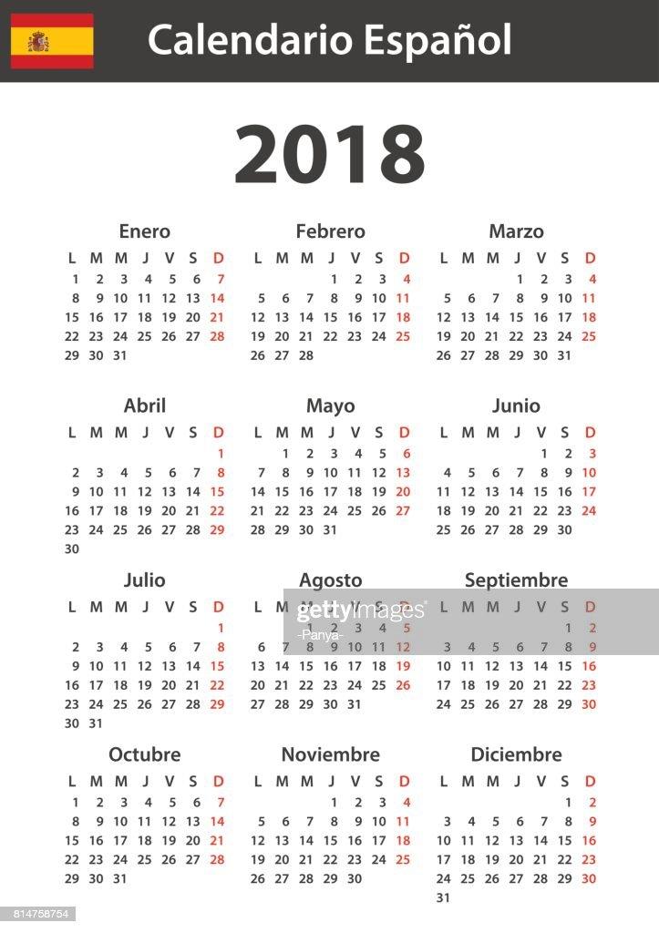 Spanish Calendar For 2018 Scheduler Agenda Or Diary Template Week