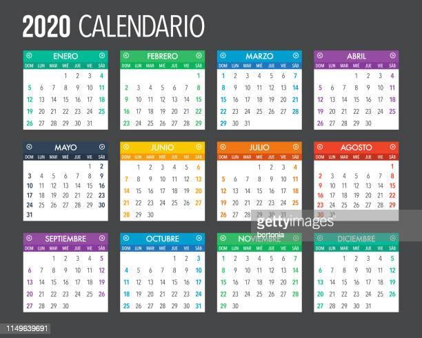 ilustrações de stock, clip art, desenhos animados e ícones de 2020 spanish calendar template design - fevereiro