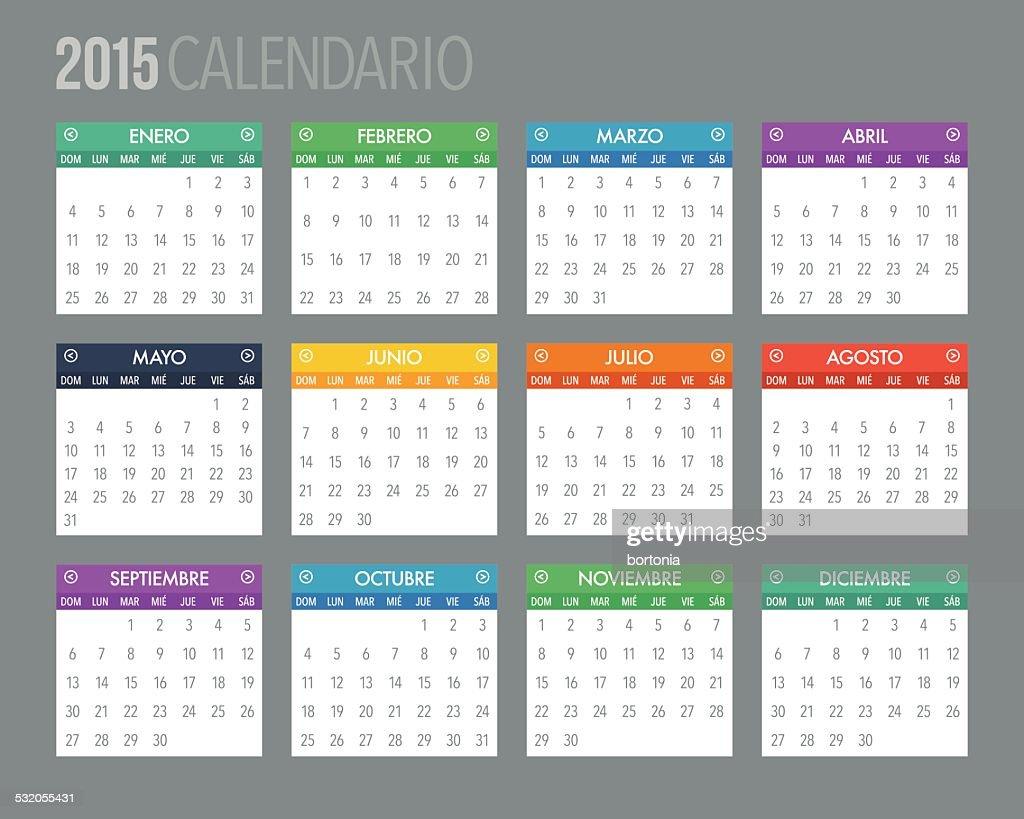 Spanische Kalender Vorlage 2015 Vektorgrafik   Getty Images