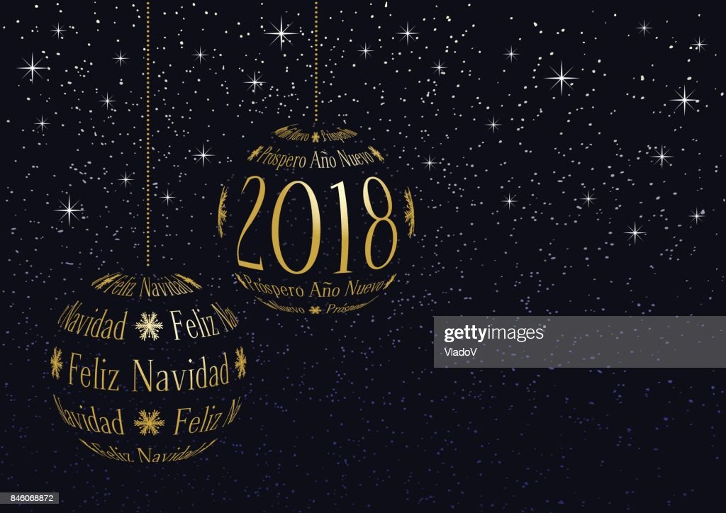 Spanish Christmas And New Year 2018 Greeting Card Vector Art   Getty ...