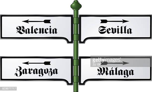 spanish cities - nostalgic metal signs from the victorian era - seville stock illustrations, clip art, cartoons, & icons