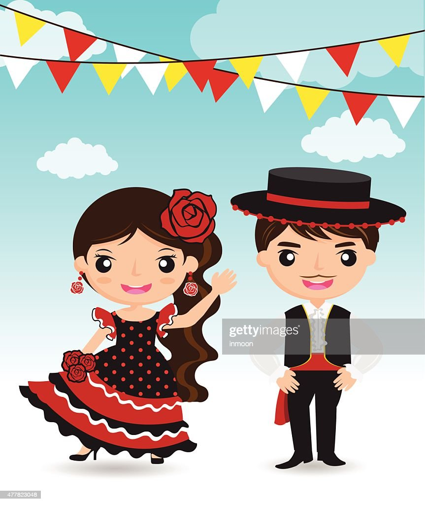 Spanish couple cartoon character
