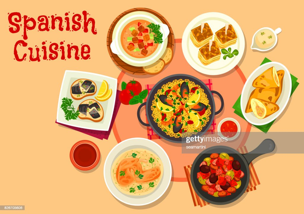 Spanish cuisine healthy dinner dishes icon