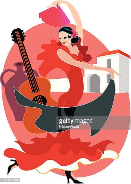 spanish dancer - spanish dancer stock illustrations, clip art, cartoons, & icons