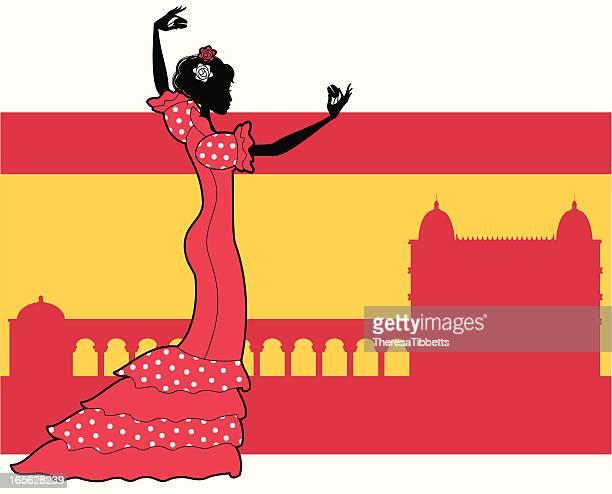 spanish flamenco dancer - spanish dancer stock illustrations, clip art, cartoons, & icons