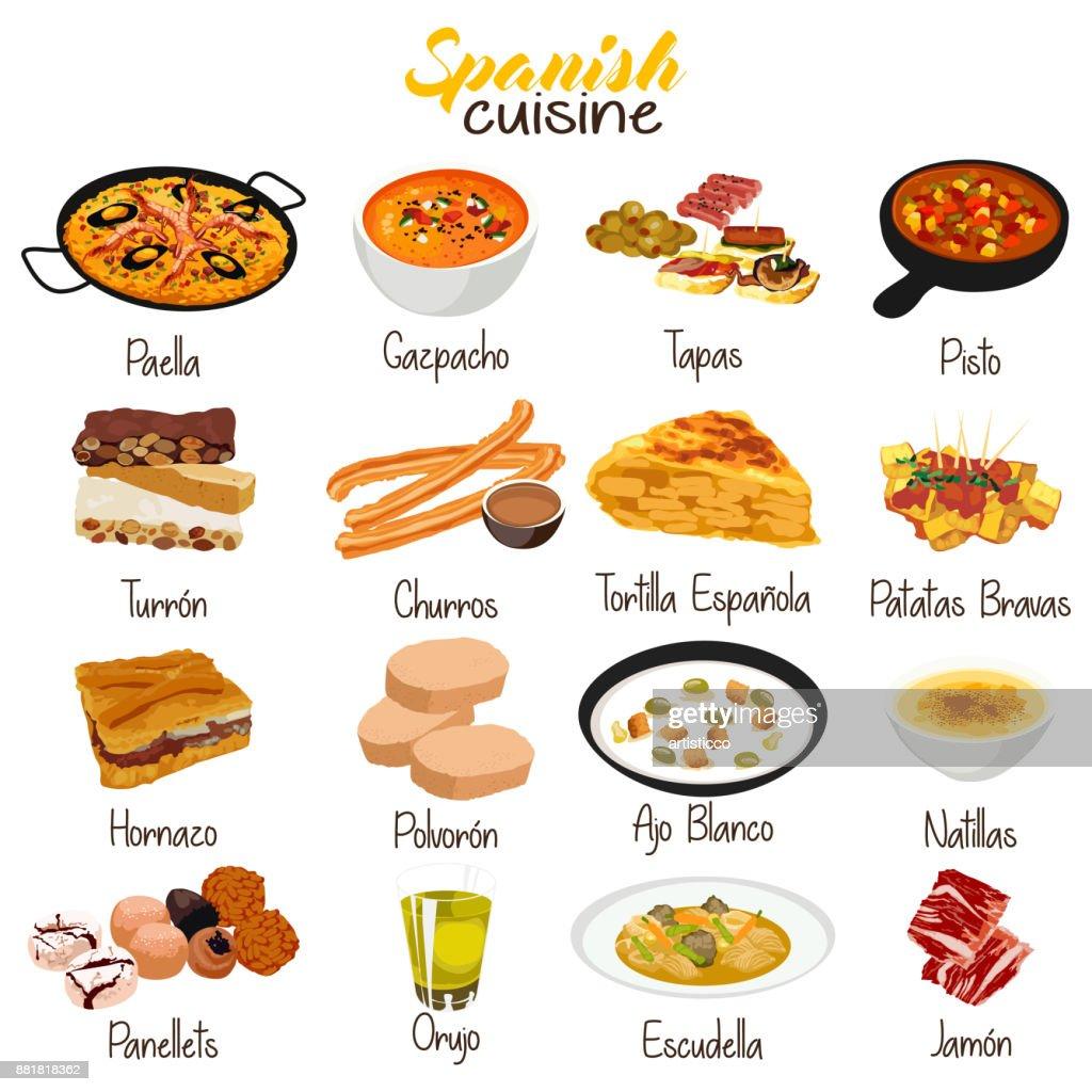 Spanish Food Cuisine Illustration