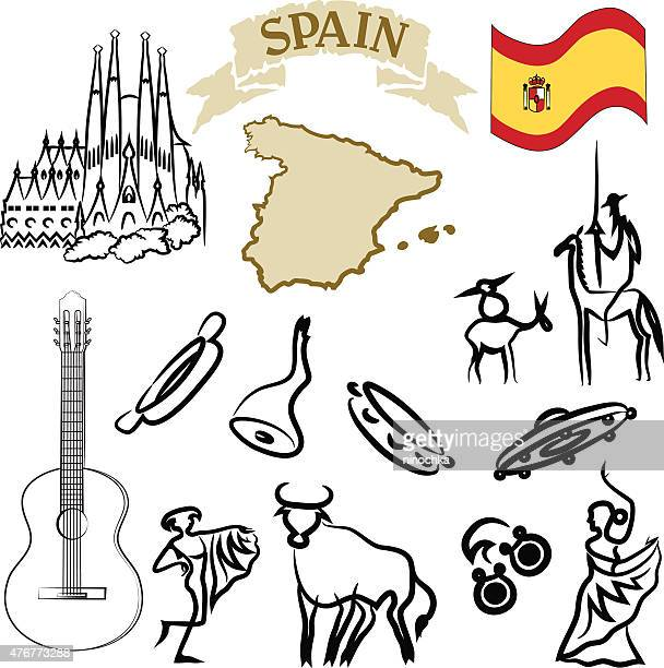 spanish icons - spanish dancer stock illustrations, clip art, cartoons, & icons