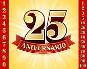 Spanish Language Anniversary Badges Red and Gold Collection Background