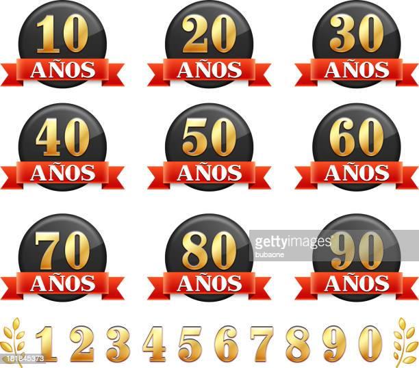 Língua espanhola emblemas de aniversário vermelho gráfico vectorial royalty free