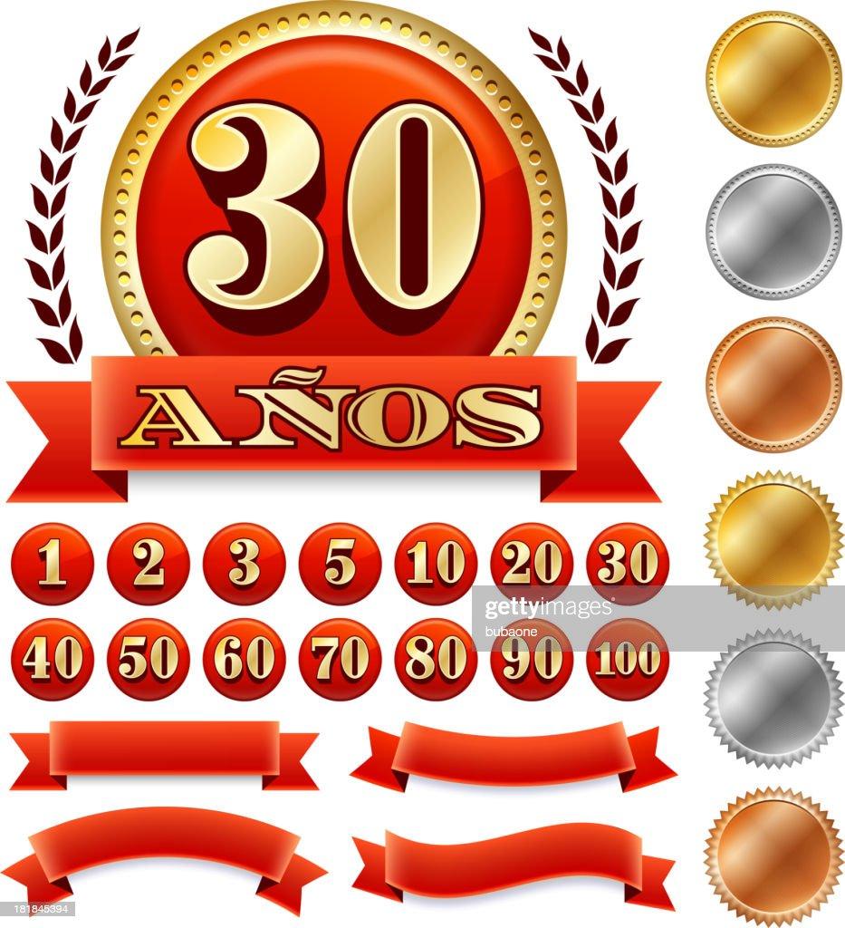 Spanish Language Anniversary Badges Red royalty free vector graphic : stock illustration