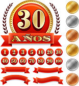 Spanish Language Anniversary Badges Red royalty free vector graphic