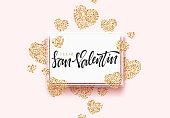 Spanish lettering Feliz San Valentin, greeting card on golden bright heart, on pink background.