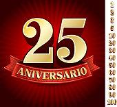Spanish logo of twenty five anniversary