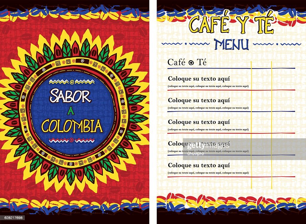 Spanish Menu for cafe, bar, coffeehouse - Sabor a Colombia : stock illustration