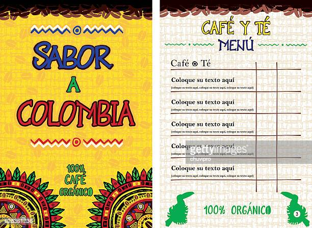 Spanish Menu for cafe, bar, coffeehouse - Sabor a Colombia