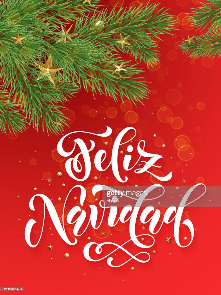 Spanish merry christmas feliz navidad greeting card decoration red spanish merry christmas feliz navidad greeting card decoration red background vector art m4hsunfo