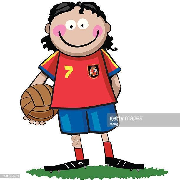 spanish soccer boy - sports organization stock illustrations, clip art, cartoons, & icons