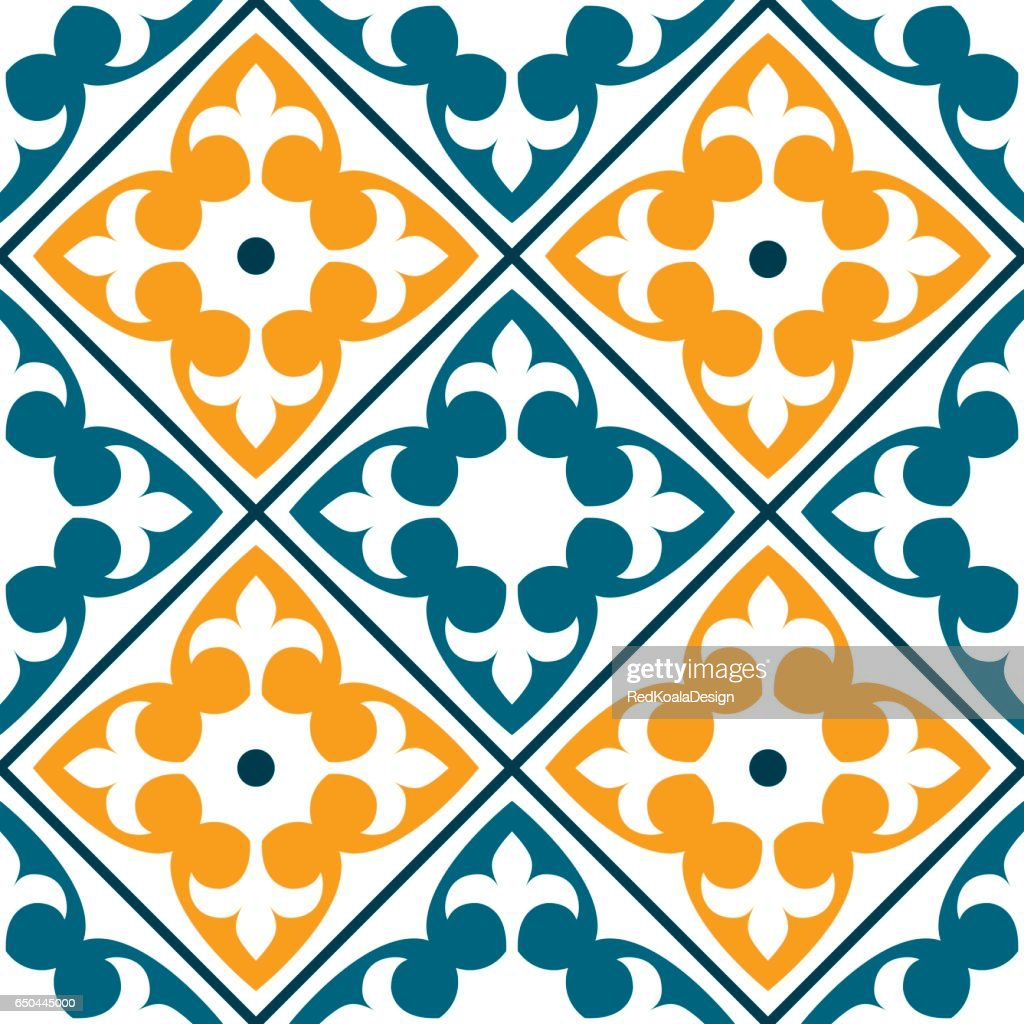 Spanish Tile Pattern Portuguese Or Moroccan Tiles Design Seamless In ...