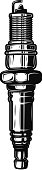 Spark plug illustration isolated on white background. Design element for  label, emblem, sign. Vector illustration
