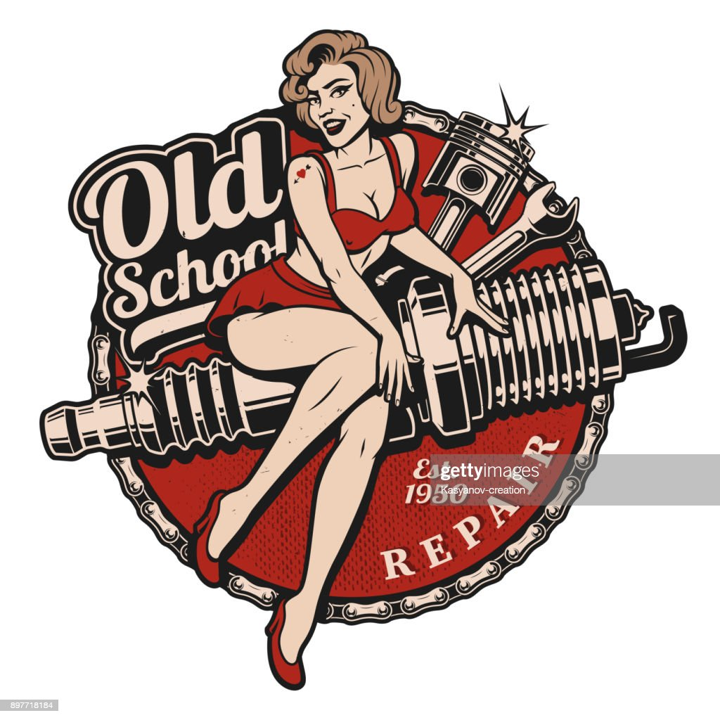 Spark Plug Pin Up Girl (color version)