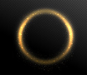 Sparkle glitter circle round shape frame. Glow dust in the air