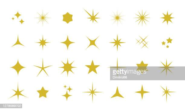 sparkle icon set - glowing stock illustrations