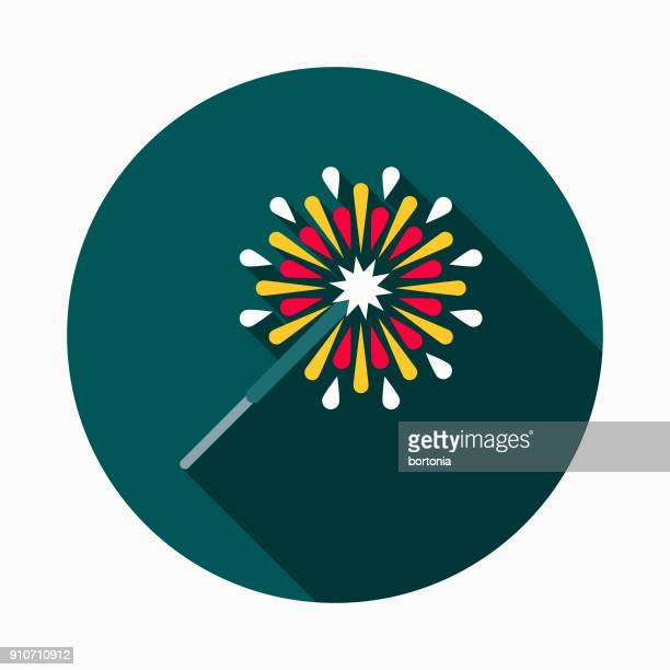 sparkler flat design bbq icon with side shadow - sparks stock illustrations, clip art, cartoons, & icons