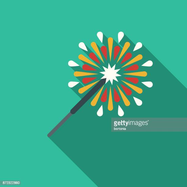 Sparkler Flat Design Party Icon with Side Shadow
