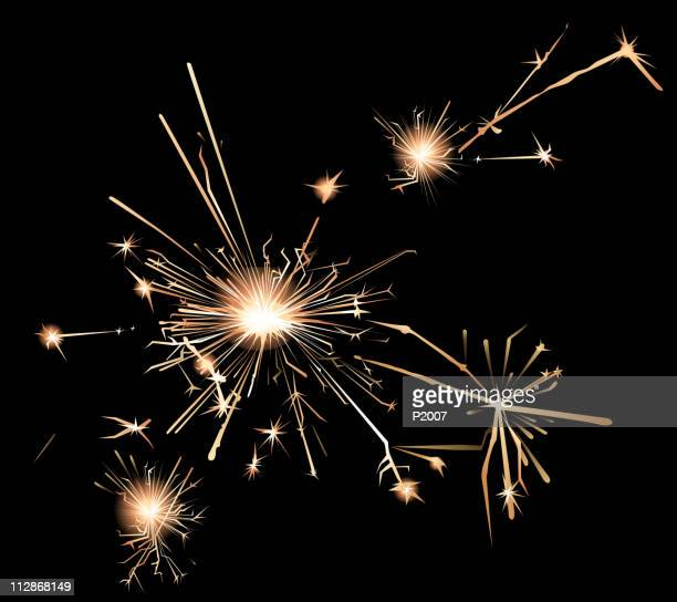 sparklers in a bark background - sparks stock illustrations, clip art, cartoons, & icons