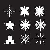 Sparkles and starbursts symbols. Lens or glass flare. Flat stars glitter, logo.