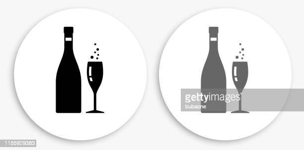 sparkling champagne black and white round icon - carbonated stock illustrations, clip art, cartoons, & icons