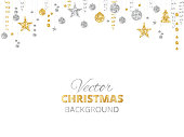 Sparkling Christmas glitter ornaments. Golden fiesta border, festive garland with hanging balls and ribbons isolated on white.
