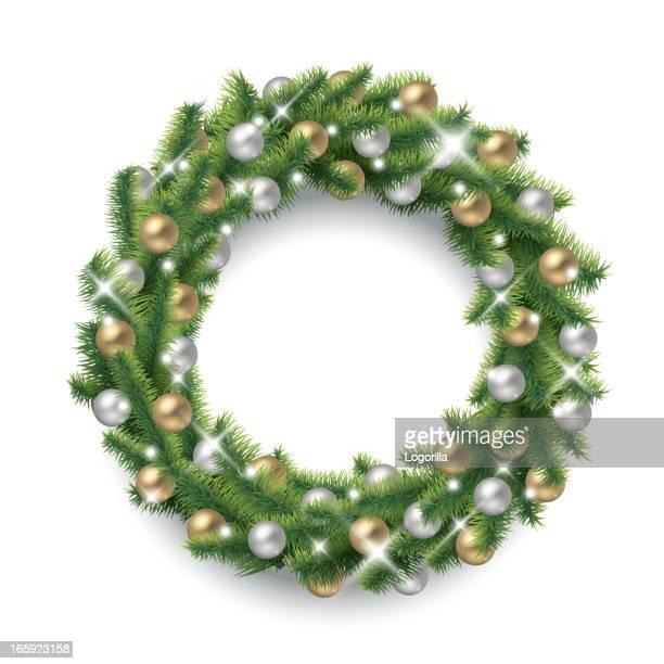 sparkling christmas wreath - laurel wreath stock illustrations